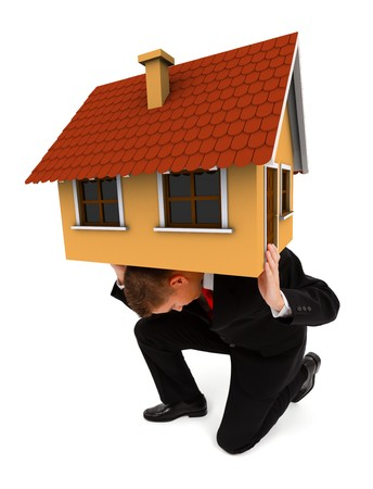 man carrying: Man holding a house on his back. Conceptual view of a business man carrying alone the costs of a whole house, or insurance company concept supporting your home