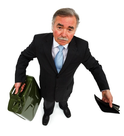 Business man holding gas can and showing empty wallet photo