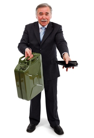Senior business man showing gas can and empty wallet. Metaphoric view of high gasoline prices Stock Photo - 9119615