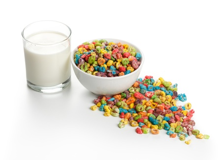 popped: Unhealthy food: popped wheat seeds with lots of artificial colorant and glass of milk