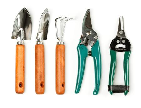 tijeras: Conjunto de utensilios de cuidado de la planta en blanco Foto de archivo