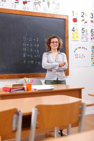 Happy elementary teacher standing in empty class room photo