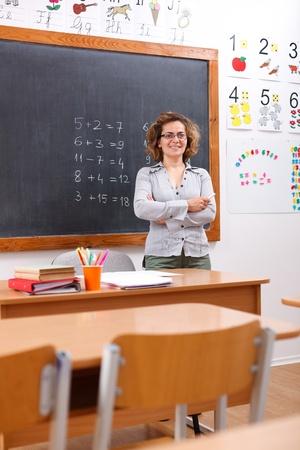 Happy elementary teacher standing in empty class room photo