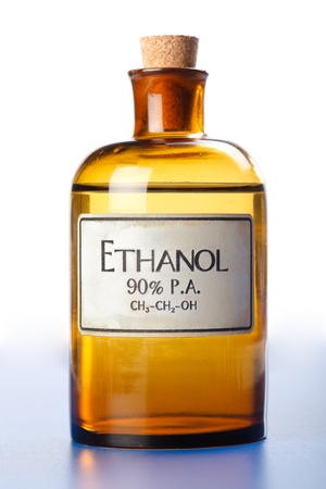 Ethanol, pure concentrated ethyl alcohol in bottle