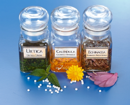 Various plant extract in bottles, Urtica Urens, Calendula Officinalis, Echinacea Angustifolia and homeopathic medication pills in front