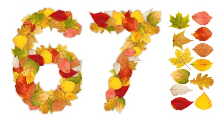 6 7: Numbers 6 and 7 made of colorful autumn leaves. Standalone design elements attached Stock Photo