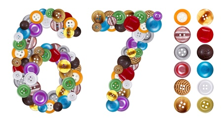 6 7: Numbers 6 and 7 made of clothing buttons. Standalone design elements attached Stock Photo