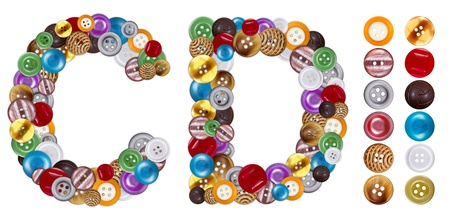 standalone: Characters C and D made of colorful clothing buttons. Standalone design elements attached Stock Photo