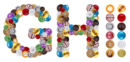 standalone: Characters G and H made of colorful clothing buttons. Standalone design elements attached