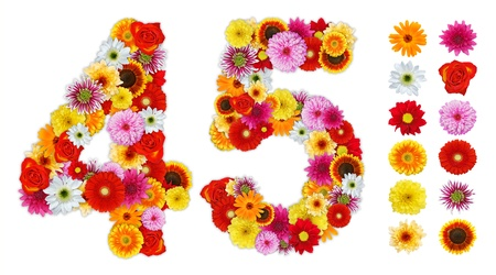 five petals: Numbers 4 and 5 made of various flowers. Standalone design elements attached Stock Photo