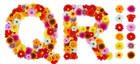 Characters Q and R made of various flowers. Standalone design elements attached Stock Photo - 11965074