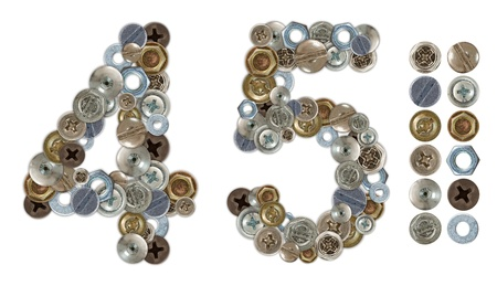 Numbers 4 and 5 made of screw and bolt heads. Standalone design elements attached photo