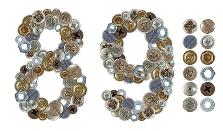 screw heads: Numbers 8 and 9 made of screw and bolt heads. Standalone design elements attached Stock Photo