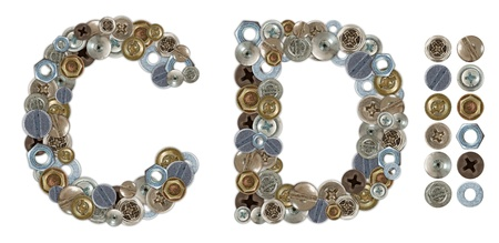 letter head: Characters C and D made of nuts and bolts head. Standalone design elements attached