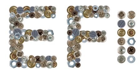 standalone: Characters E and F made of nuts and bolts head. Standalone design elements attached Stock Photo