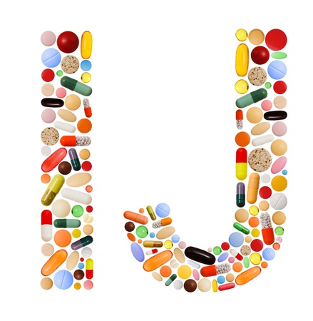 j: Characters I and J made of various colorful pills, capsules and tablets