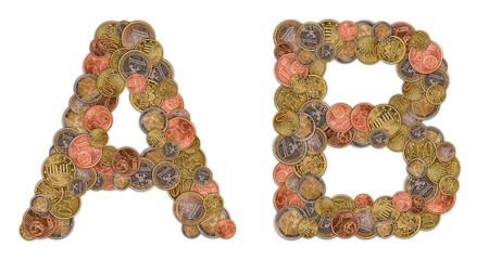 Characters A and B made of Euro coins photo