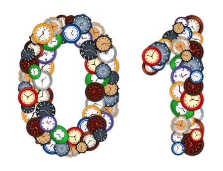 Numbers 0 and 1 made of various clocks photo