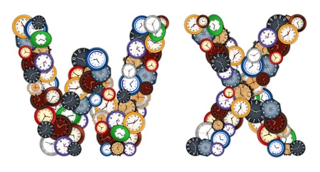 Characters W and X made of various clocks photo