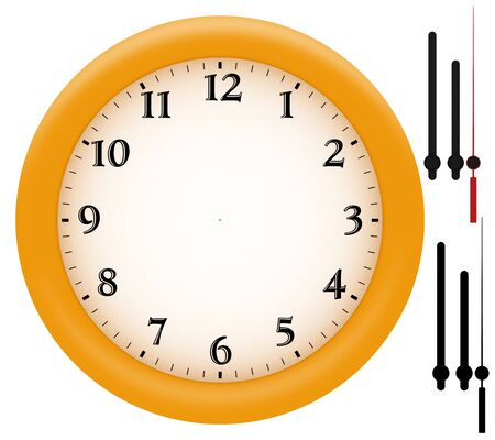 ticking: Simple clock with yellow plastic frame. Hands and their alpha channel provided separately