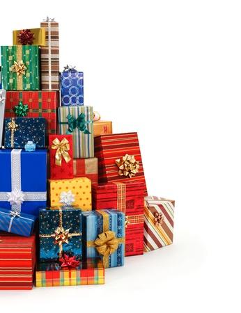 Big stack of colorful Christmas presents