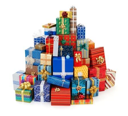 gifts: Grote stapel van kleurrijke kerstcadeautjes Stockfoto