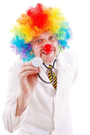 funny doctor: Funny doctor wearing clown nose and colorful wig