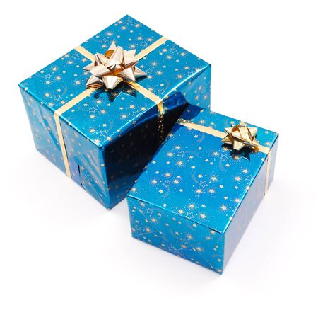 gift packs: Two gifts on white, wrapped with shiny blue decorated paper