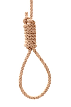 Hanging gallows rope with knot, isolated on white
