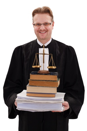 Happy judge holding justice scale, books and paperwork photo