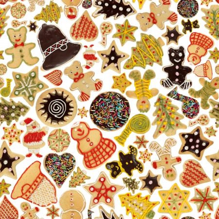 Seamless Christmas background made of various decorated cookies photo