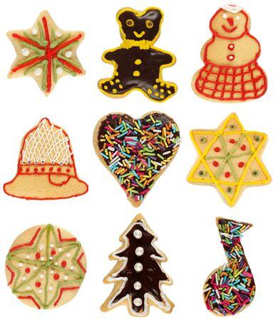 Vaus handmade decorated Christmas cookies, isolated on white Stock Photo - 14445193