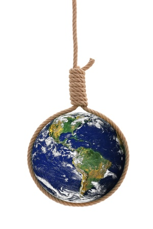 strangler: Earth in thick gallows rope. Danger or distress concept.