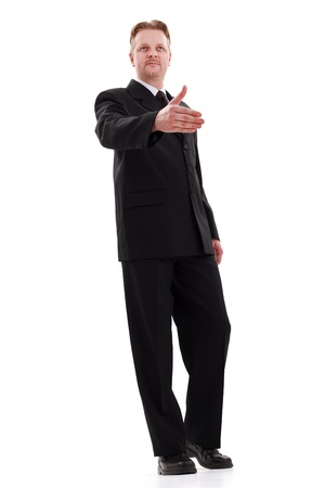 Bottom view of business man offering his hand for handshake photo