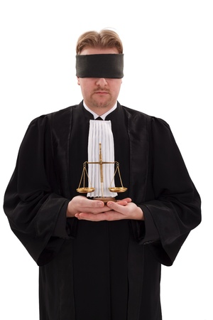 impartiality: Blindfold lawyer with golden scale of justice - concept of blindness or impartiality of justice Stock Photo