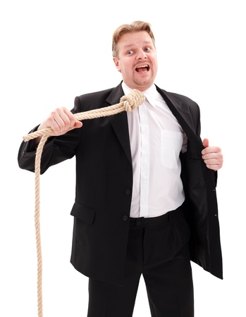 gallows: Desperate businessman with gallow rope in neck