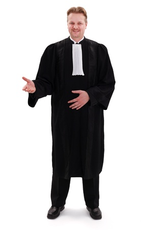 judges: Happy confident lawyer standing and gesturing with right hand