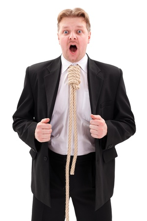 gallows: Scared businessman with gallow rope in neck Stock Photo