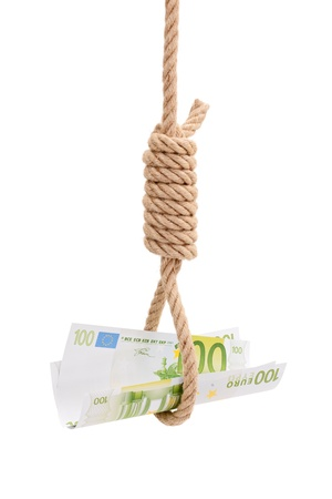 gallows: Money in gallows rope isolated on white backgroud. Conceptual wiew of financial crisis