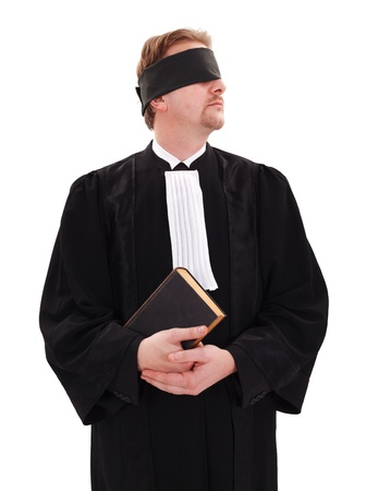 Blindfold lawyer holding book - concept of blindness or impartiality of justice photo