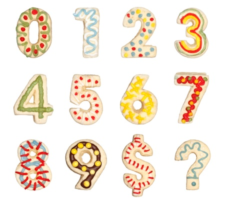 0 9: Numbers 0 to 9 from decorated handmade cookies