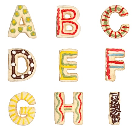 Letters A to I from decorated handmade cookies Standard-Bild