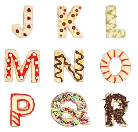 galletas: Las letras J a R desde decoradas galletas hechas a mano