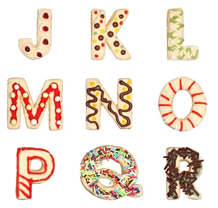 Letters J to R from decorated handmade cookies