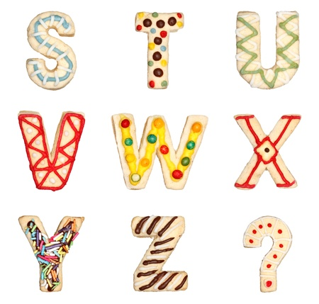 Letters S to Z from decorated handmade cookies