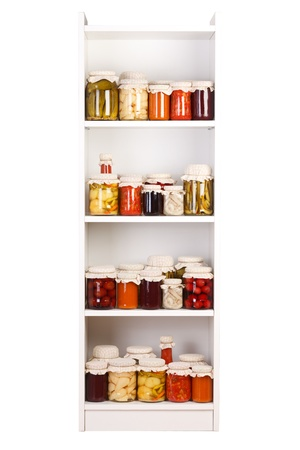 canned fruit: Chamber shelf with various  homemade preserves