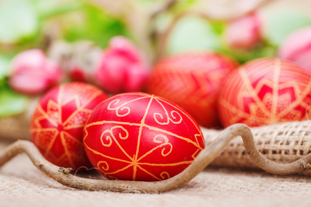 Closeup of handmade painted Easter eggs from Transylvania Reklamní fotografie