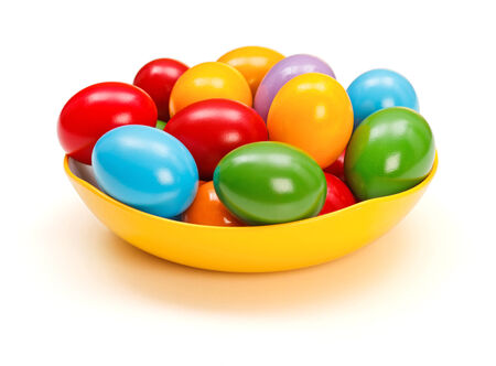 shined: Shined colorful Easter eggs in plate