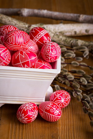 Transylvanian hand written Easter eggs and willow branches