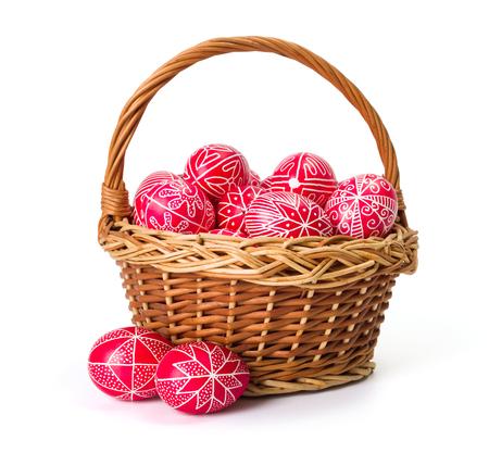 transylvania: Traditional transylvanian hand written eggs in wicker basket